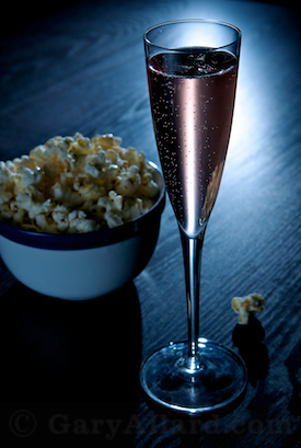 Cremant Rose and popcorn © Gary Allard All Rights Reserved